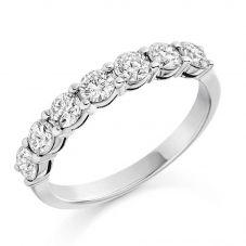 Platinum 1.00ct Claw Set Round Brilliant Half Eternity Ring HET1494 PLAT