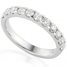 Platinum Claw-set Diamond Scalloped Half Eternity Ring E32323/50/PLT