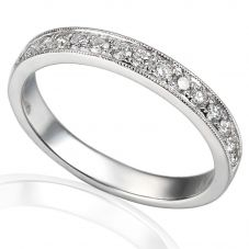 Platinum Pavé-set Diamond Vintage Half Eternity Ring E26123/30/PLT