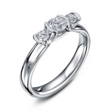 Geoghegan Triumph Platinum & Diamond 0.53Ct Rubover Trilogy Ring TRI20/P