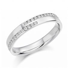 Platinum 0.25ct Channel Set Round Brilliant Crossover Half Eternity Ring HET1177