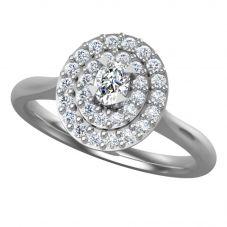 Platinum 0.54ct Diamond Oval Cluster Ring 9749/PL/DQ7 O
