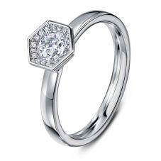 Geoghegan Chapiteau Platinum & Diamond 0.38ct Hexagonal Shape Cluster Ring CHA1/P