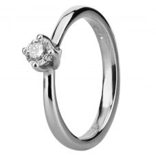 Platinum Four Claw Twist Diamond Solitaire Ring RI-1153 (.25CT PLUS)- H/SI1-0.27ct