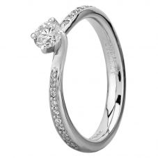 Platinum Four Claw Twist Diamond Shouldered Solitaire Ring RI-1211 (.33CT PLUS)- F/SI1/0.33ct