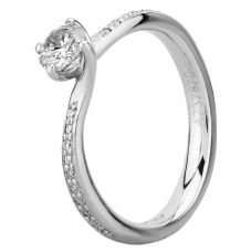 Platinum Four Claw Twist Diamond Shouldered Solitaire Ring RI-1211 (.40CT PLUS)- H/VS2/0.41ct