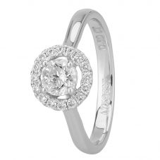 1888 Collection Platinum Certificated Diamond Floating Halo Cluster Ring DSR21(.50CT PLUS)