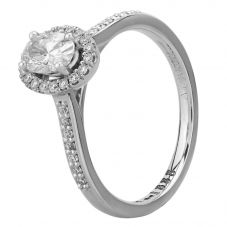 1888 Collection Platinum Certificated Oval-cut Diamond Cluster Ring DSC41(6X4)0.40CT PLUS- E/SI2/0.60ct