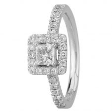 1888 Collection Platinum Certificated Princess-cut Diamond Cluster Ring DSC53(4.0)0.30CT PLUS