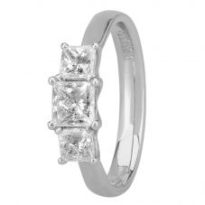 1888 Collection Platinum Certificated Princess-cut Diamond Trilogy Ring R3-263(1.00CT PLUS)
