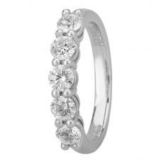 1888 Collection Platinum Certificated Five Stone Diamond Half Eternity Ring HET1001(1.00CT PLUS)