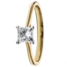 1888 Collection 18ct Gold Certificated Princess-cut Four Claw Diamond Solitaire Ring RI-2022 (.70CT PLUS)