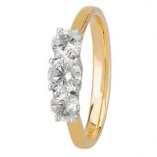 1888 Collection 18ct Gold Certificated Diamond Trilogy Ring R3-145(1.00CT PLUS)