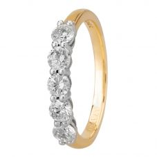 1888 Collection 18ct Gold Certificated Five Stone Diamond Half Eternity Ring HET1001(.75CT PLUS)