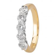 1888 Collection 18ct Gold Certificated Five Stone Diamond Half Eternity Ring HET1001(1.00CT PLUS)