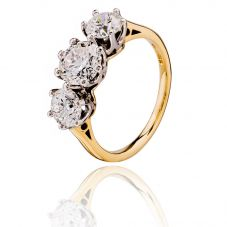 18ct Gold Certificated Three Stone 2.67ct Diamond Ring 01-77-320