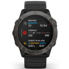 Garmin Fenix 6X Sapphire Edition Carbon Grey DLC Black Rubber Strap Watch 010-02157-11
