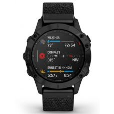 Garmin Fenix 6 Sapphire Edition Titanium Heathered Black Fabric Strap Watch 010-02158-17
