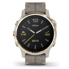 Garmin Fenix 6S Sapphire Edition Light Gold Shale Grey Leather Strap Watch 010-02159-40