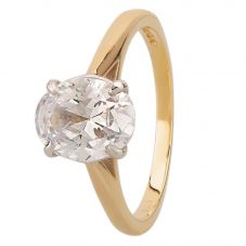 9ct Two Colour Gold Oval-cut Cubic Zirconia Solitaire Ring 3215/CZ