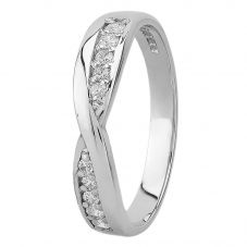 9ct White Gold Eternity-set Cubic Zirconia Twist Ring 4218/CZ