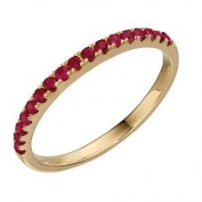 9ct Yellow Gold Ruby Half Eternity Ring GR537R