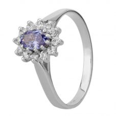 9ct White Gold Oval Blue Cubic Zirconia Cluster Ring 4252/TANCZ