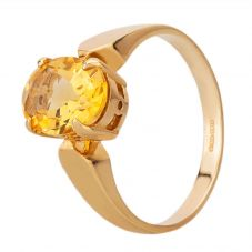 9ct Yellow Gold Oval Yellow Cubic Zirconia Solitaire Ring 2932/CIT N