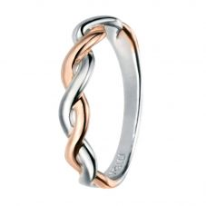 Silver Rhodium And Rose Gold-Plated Twist Ring R3434