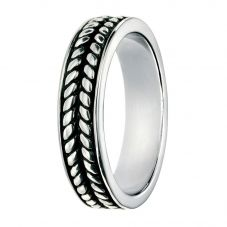 Silver Oxidised Black Enamel-Plated Ring R3451