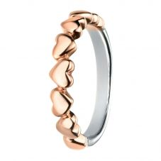 Rhodium And Rose Gold-Plated Multi Heart Ring R3459