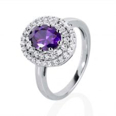 Silver Round Purple Cubic Zirconia Halo Ring ASHR022-CZ-PU