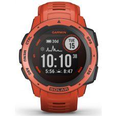Garmin Instinct Solar Flame Red Rubber Strap Watch 010-02293-20