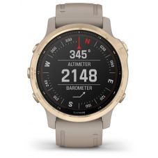 Garmin Fenix 6S Pro Solar Edition Light Gold Sand Rubber Strap Watch 010-02409-11