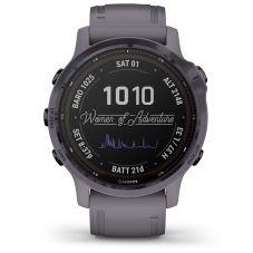 Garmin Fenix 6S Pro Solar Edition Amethyst Steel Shale Grey Rubber Strap Watch 010-02409-15