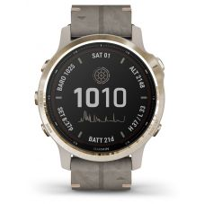 Garmin Fenix 6S Pro Solar Edition Light Gold Shale Grey Suede Strap Watch 010-02409-26