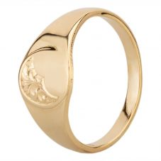 9ct Yellow Gold Half Engraved Oval Signet Ring YAL306H ENG H