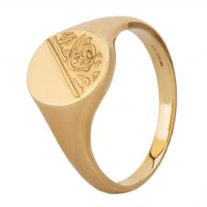 9ct Yellow Gold Half Engraved Oval Signet Ring SIG039 W