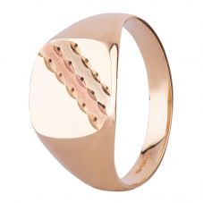 9ct Three Colour Gold Striped Cushion Signet Ring 095-S9933 W