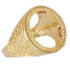 9ct Gold Victorian Sovereign Mount Ring