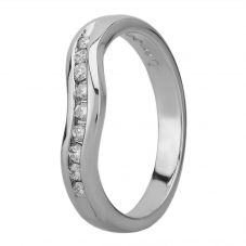 Platinum 3mm Channel-set Diamond Dipped Wedding Ring 4173/PL/DQ10
