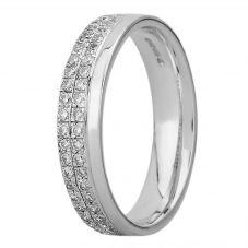 9ct White Gold 3.7mm Double Pavé-set Diamond Wedding Ring 9144/9W/DQ10