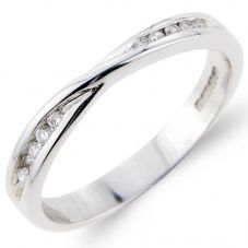 9ct White Gold 3mm Narrow Diamond Twist Wedding Ring 8432/9WAG/DIA