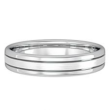 9ct White Gold 4mm Matt/Polished Court Ring R561J2