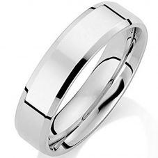 Platinum 5mm Flat Court Bevelled Polished Wedding Ring RL542B-P