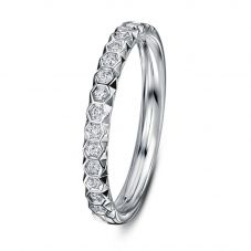 Geoghegan Chapiteau Platinum & Diamond 0.17ct Hexagonal Cut Wedding Band Ring CHA14/P