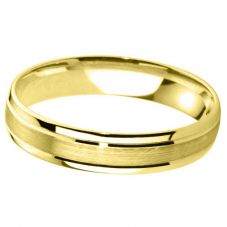 9ct Yellow Gold 6.0mm D-Shape Bevelled Brushed And Polished Wedding Ring BD9.0P/F06 9Y