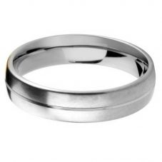 Palladium 5.0mm Court Satin and Polished Wedding Ring BC5.0/F09PALL