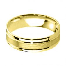 9ct Yellow Gold 6.0mm Flat Court Bevelled Brushed and Polished Wedding Ring BFC6.0Y/F06 9Y