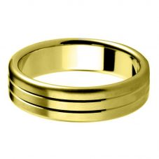 9ct Gold 6.0mm Court Two-Line Bevelled Wedding Ring BC6.0/F14 9Y